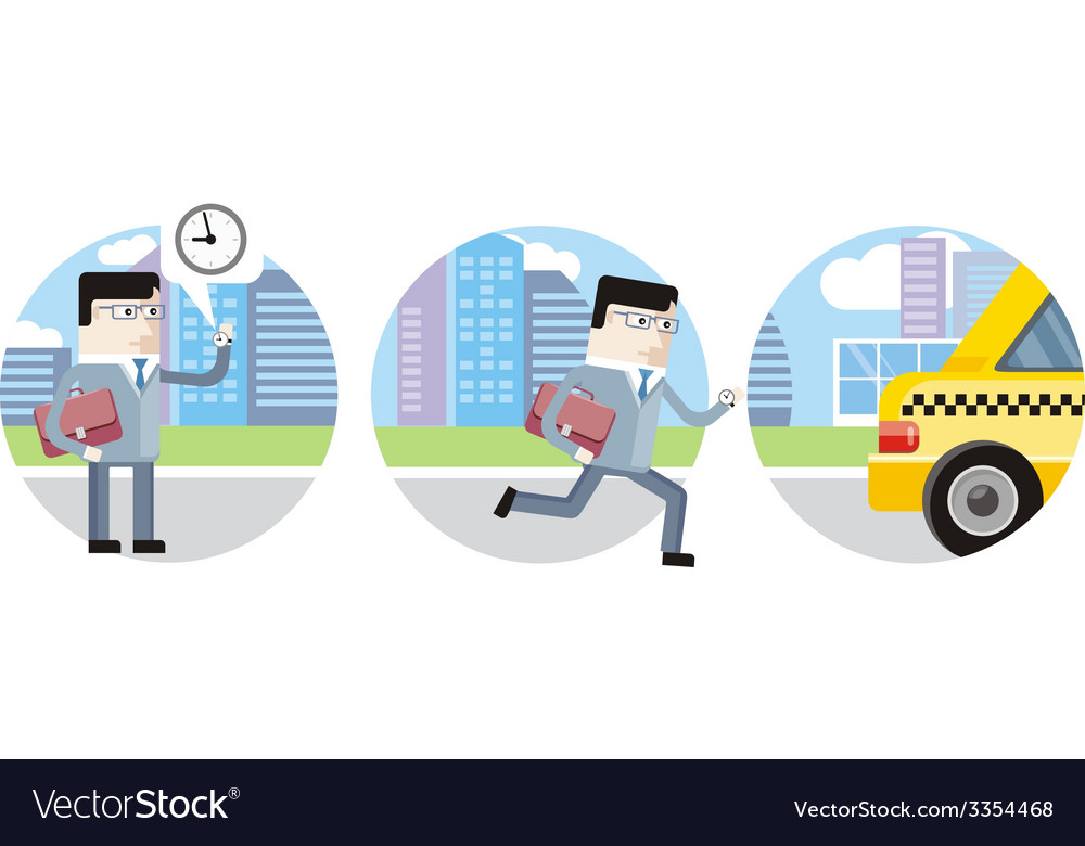 Businessman in suit late for work and catch taxi vector | Price: 1 Credit (USD $1)