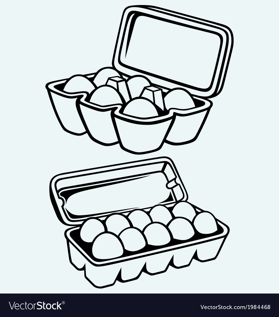 Eggs in a carton package vector | Price: 1 Credit (USD $1)