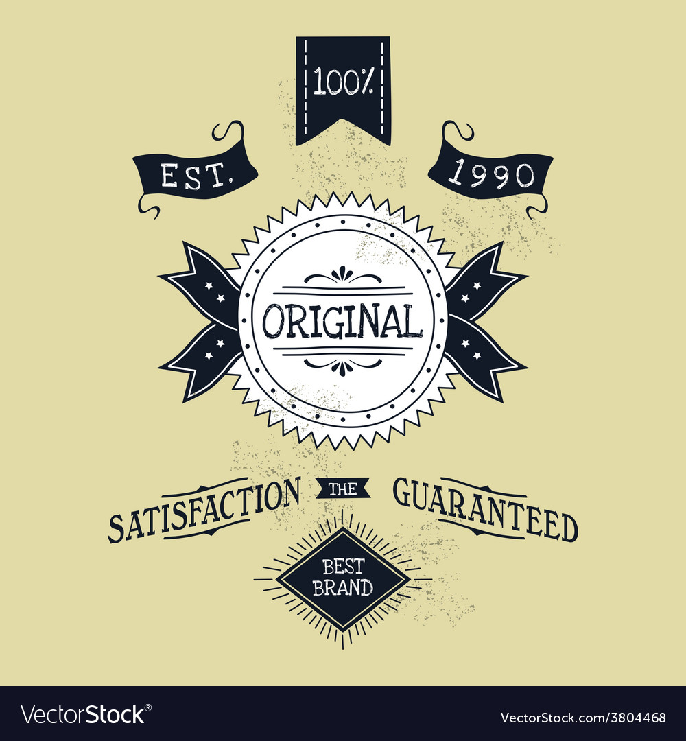 Hand lettered catchword vintage tag vector | Price: 1 Credit (USD $1)