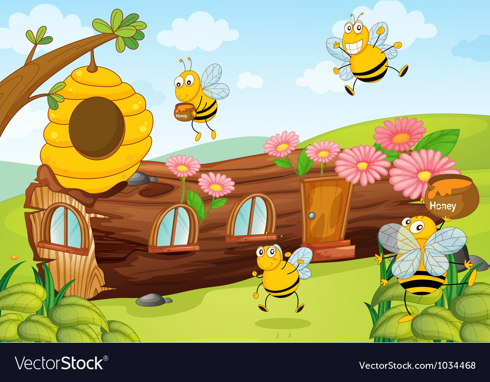 Honey bees and wooden house vector | Price: 1 Credit (USD $1)