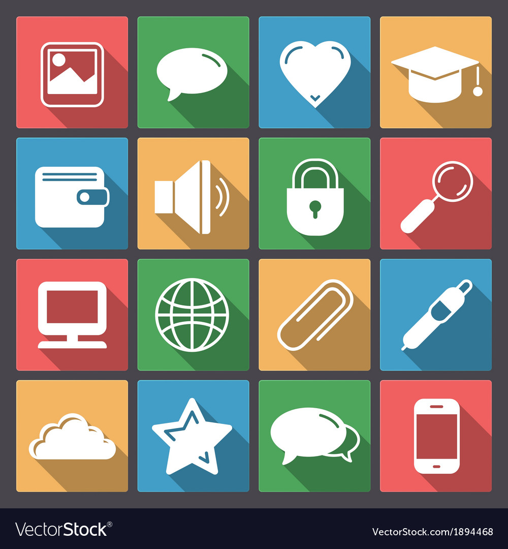 Icons set for web in flat design vector | Price: 1 Credit (USD $1)