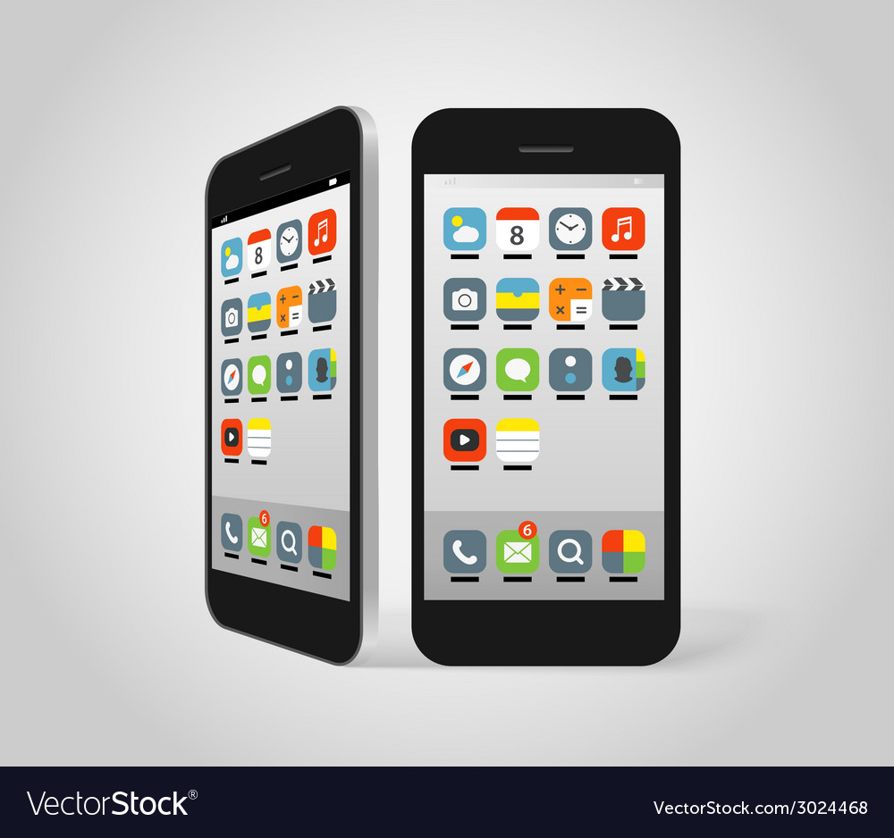 Modern smartphone with different color icons vector | Price: 1 Credit (USD $1)