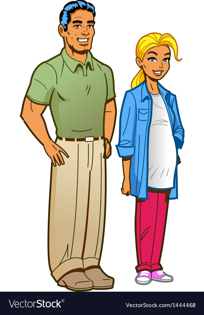 Suburban couple vector | Price: 1 Credit (USD $1)