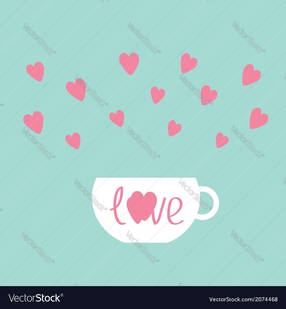 Teacup with hearts love card vector | Price: 1 Credit (USD $1)