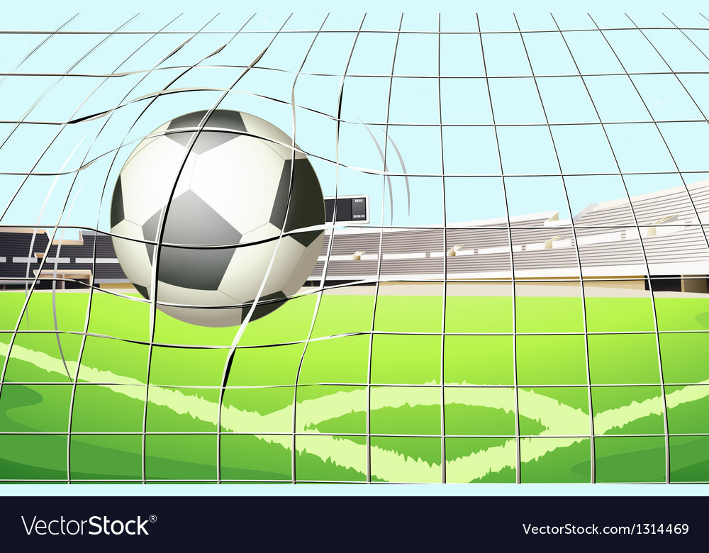 A ball hitting the soccer goal vector | Price: 1 Credit (USD $1)