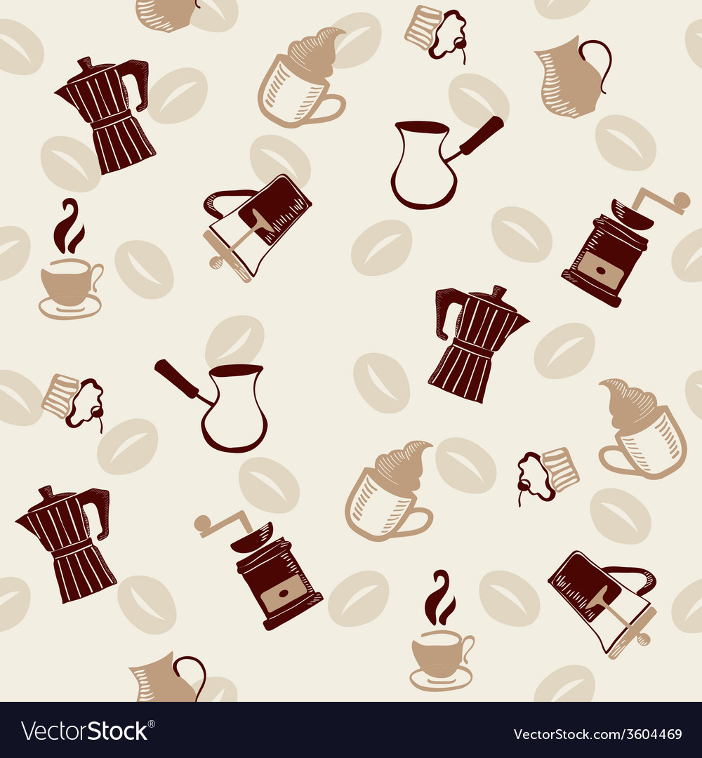 Coffee pattern doodle style vector | Price: 1 Credit (USD $1)