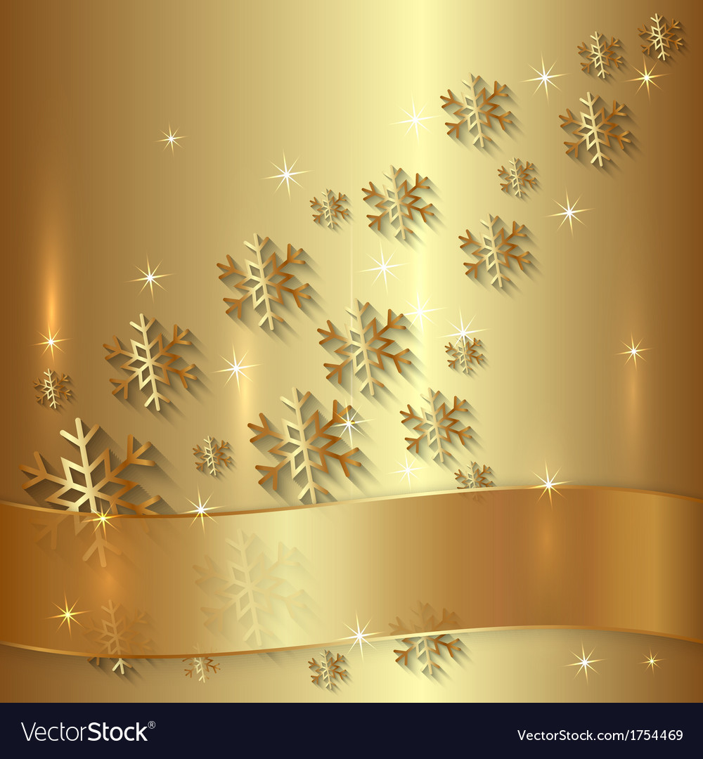 Golden plate with snowflakes and golden ribbon vector | Price: 1 Credit (USD $1)