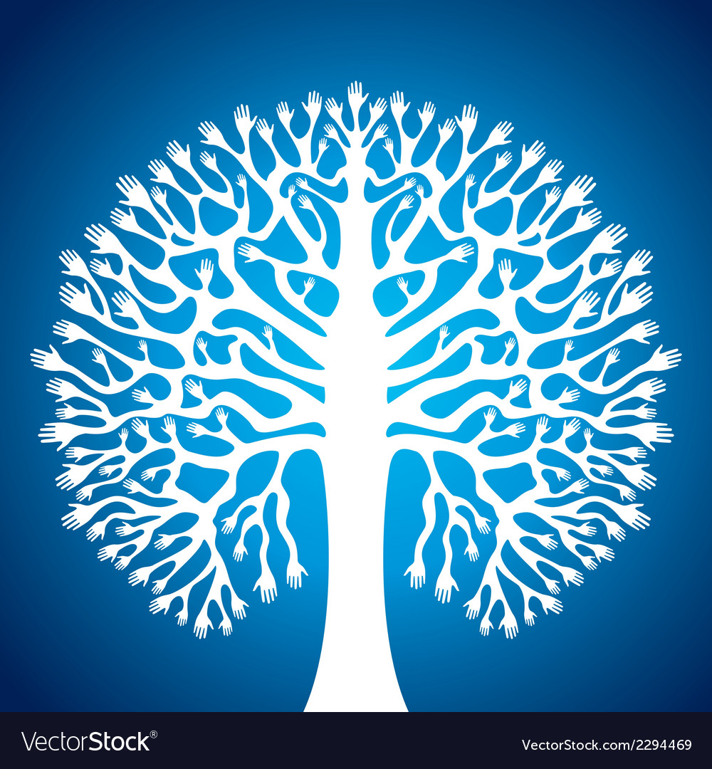 Hand tree stock in blue background vector | Price: 1 Credit (USD $1)