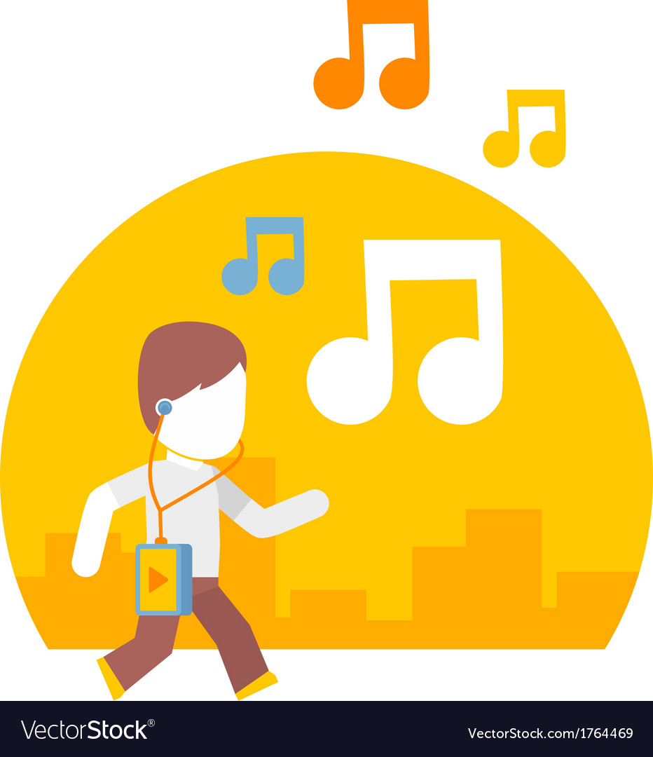Man listening to music while traveling on city vector   Price: 1 Credit (USD $1)