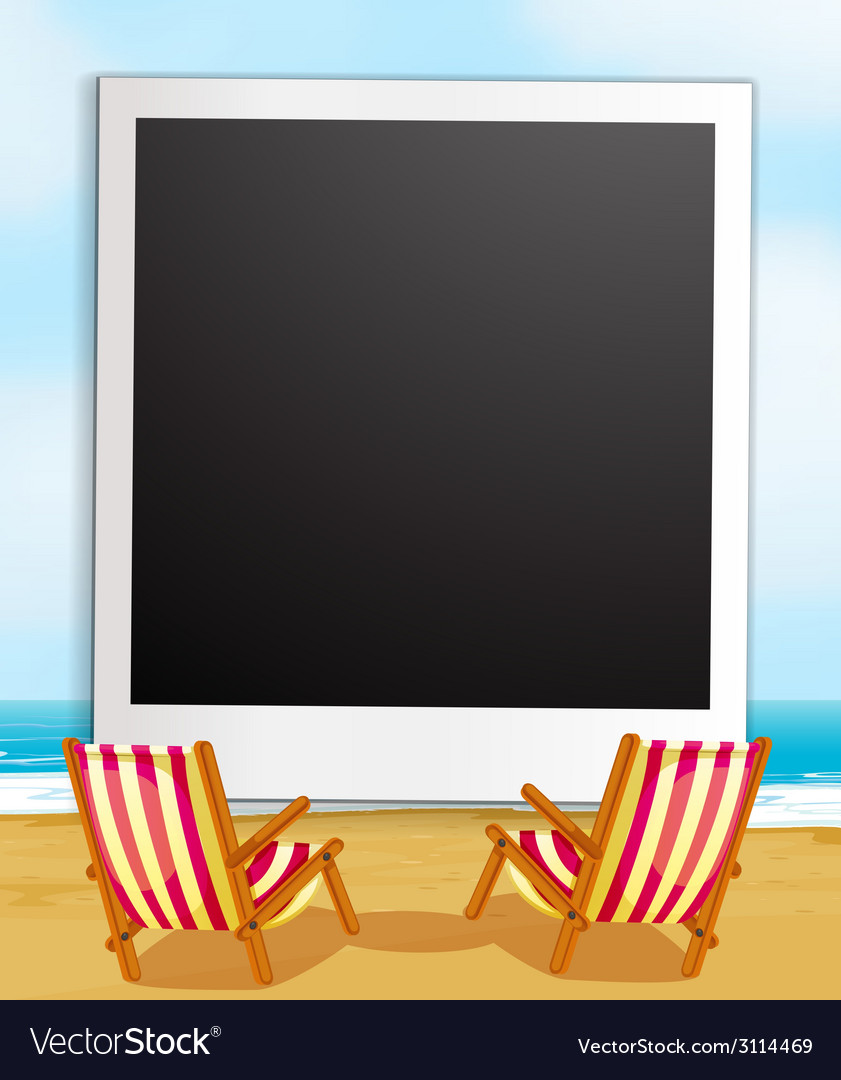 Photo frame and beach vector | Price: 1 Credit (USD $1)