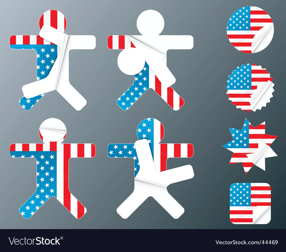 Usa collection of peeling stickers vector | Price: 1 Credit (USD $1)