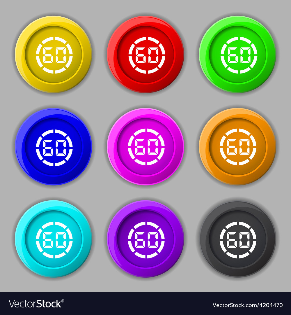 60 second stopwatch icon sign symbol on nine round vector | Price: 1 Credit (USD $1)
