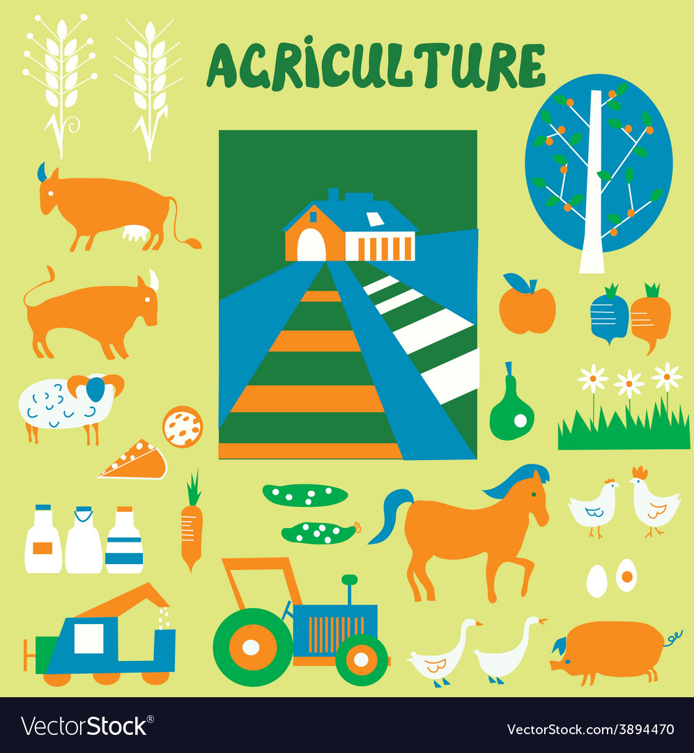 Agriclulture icons and pictures set - hand drawn vector | Price: 1 Credit (USD $1)