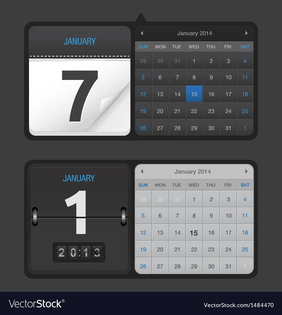 Black calendar set vector   Price: 1 Credit (USD $1)
