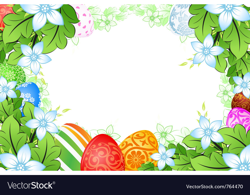 Flower frame easter eggs vector | Price: 1 Credit (USD $1)