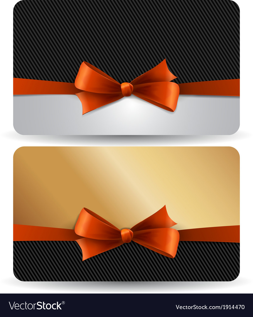 Holiday gift card with red ribbons and bow vector | Price: 1 Credit (USD $1)