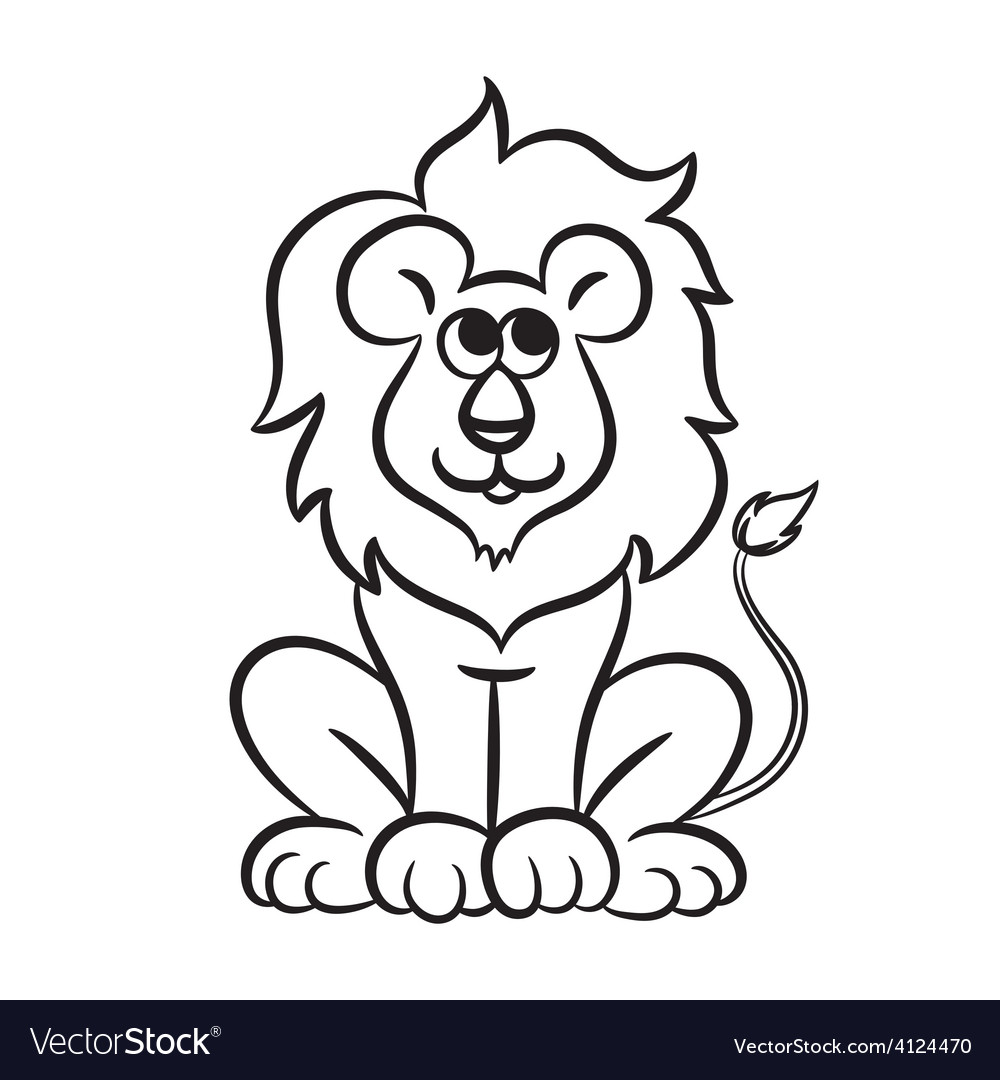 Lion black and white vector | Price: 1 Credit (USD $1)