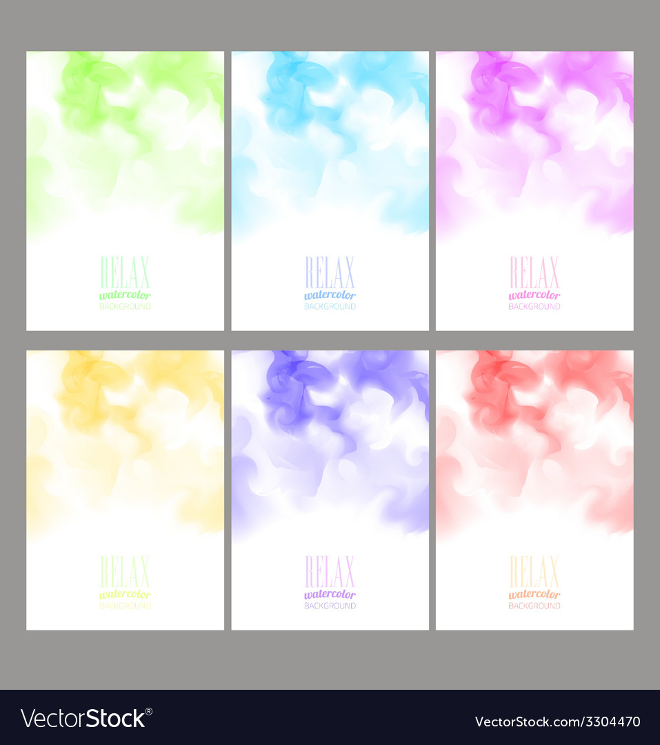 Set of bright colorful watercolor background vector | Price: 1 Credit (USD $1)