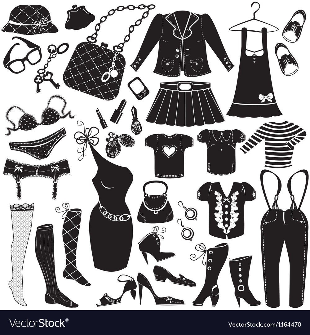 Womans clothes fashion and accessory icon set vector | Price: 1 Credit (USD $1)