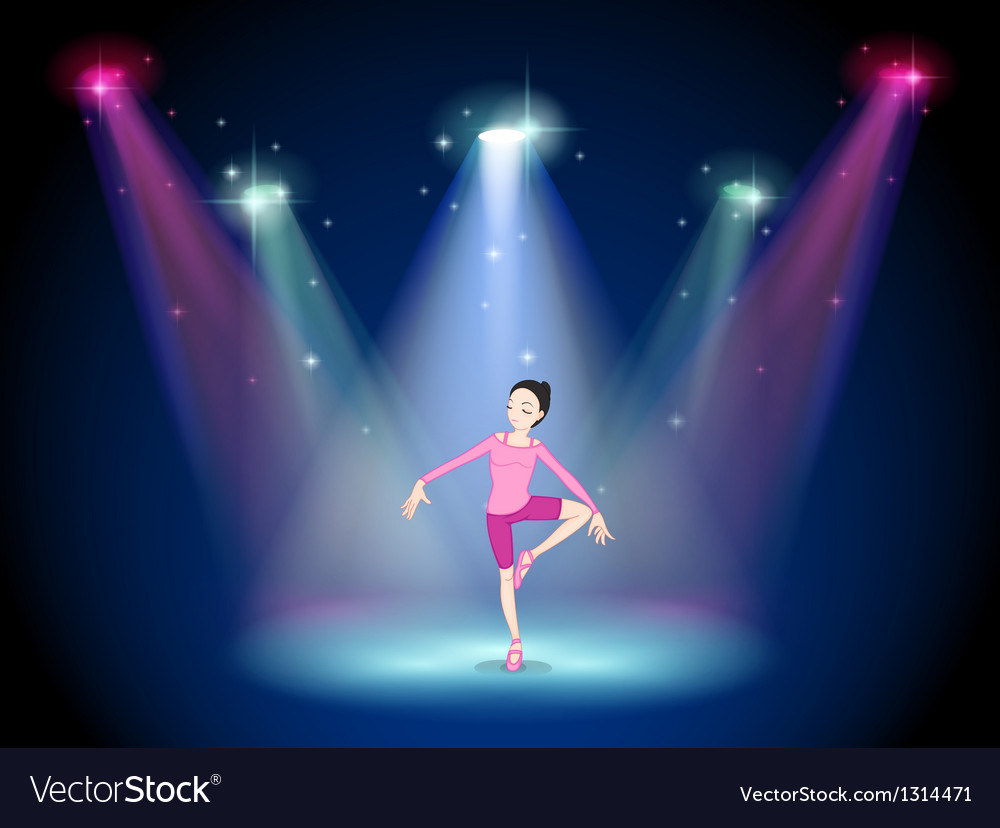 A woman performing ballet on the stage with vector | Price: 1 Credit (USD $1)