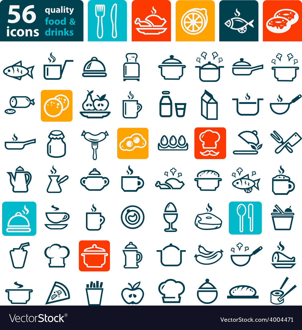 Big food icons set vector | Price: 1 Credit (USD $1)