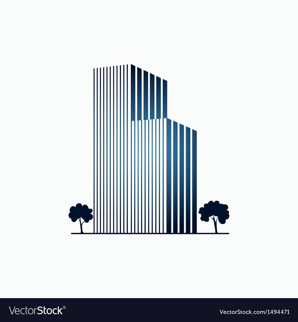 Blue buildings and trees vector | Price: 1 Credit (USD $1)