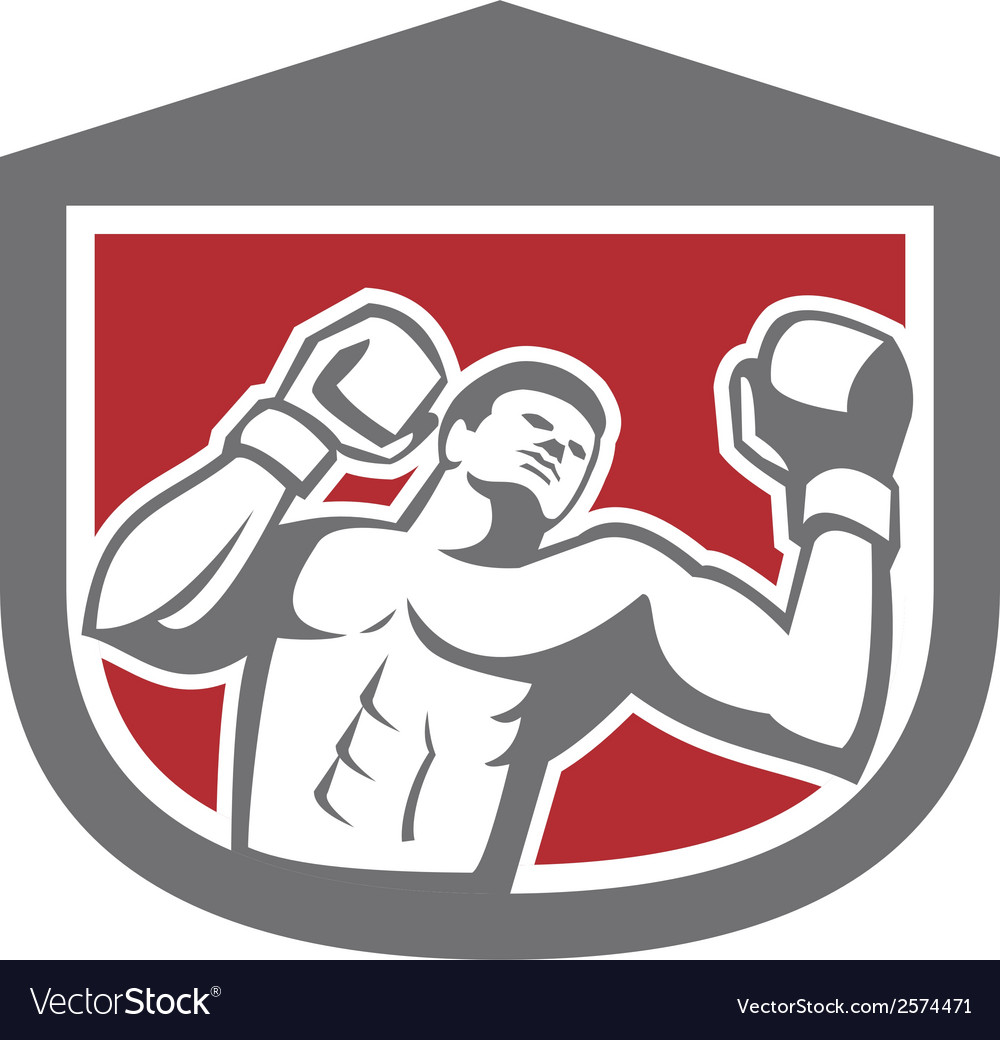 Boxer punching boxing shield retro vector | Price: 1 Credit (USD $1)