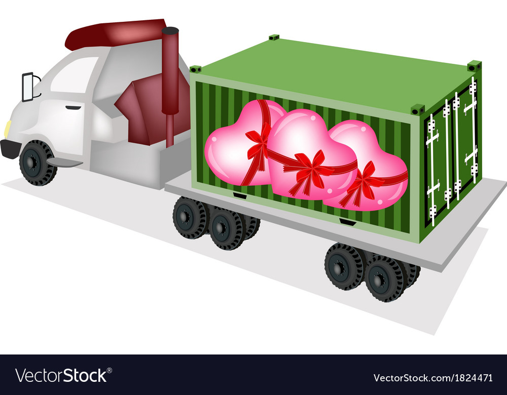 Flatbed trailer loading lovely hearts vector | Price: 1 Credit (USD $1)