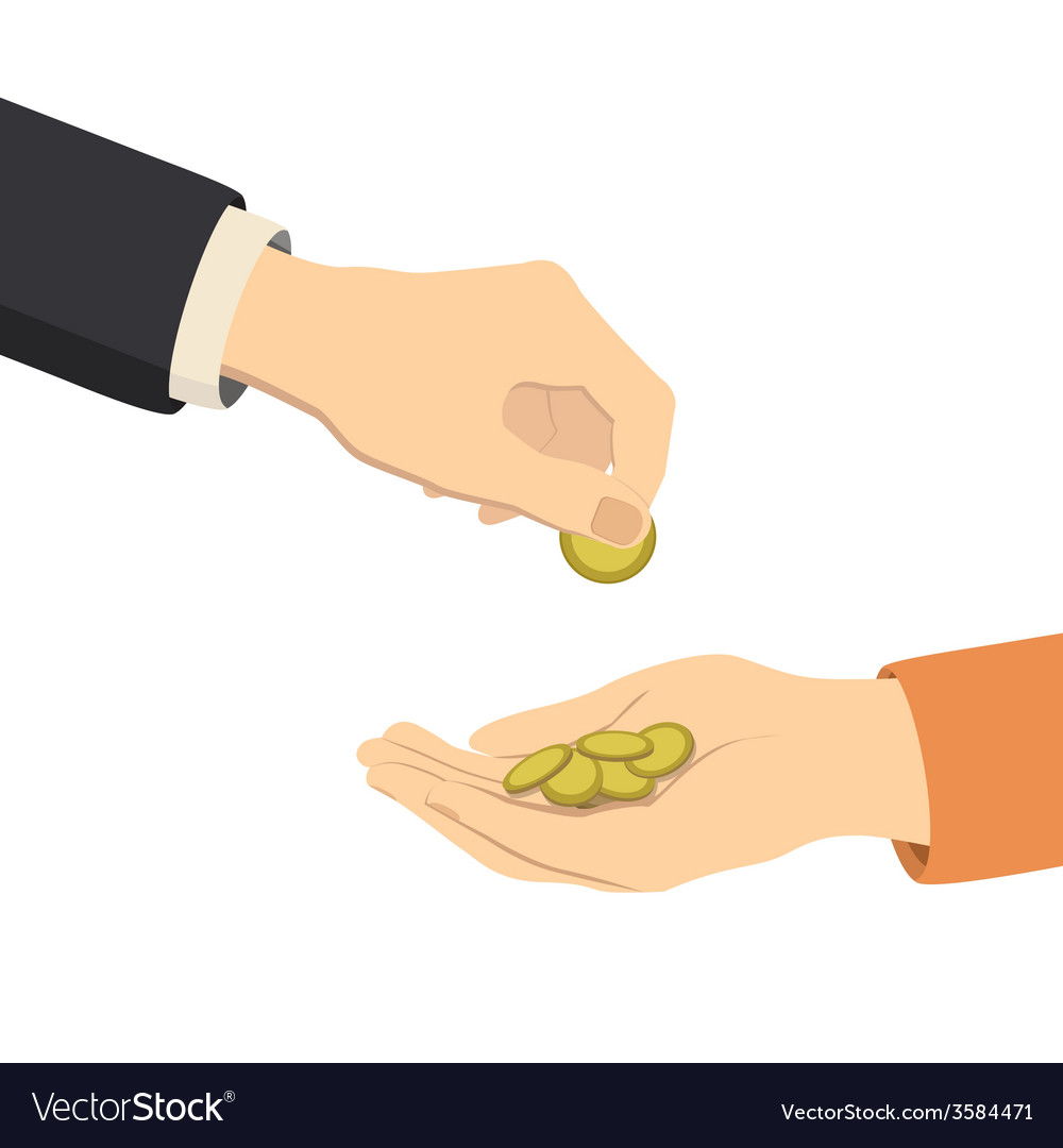 Hands giving and receiving money vector | Price: 1 Credit (USD $1)