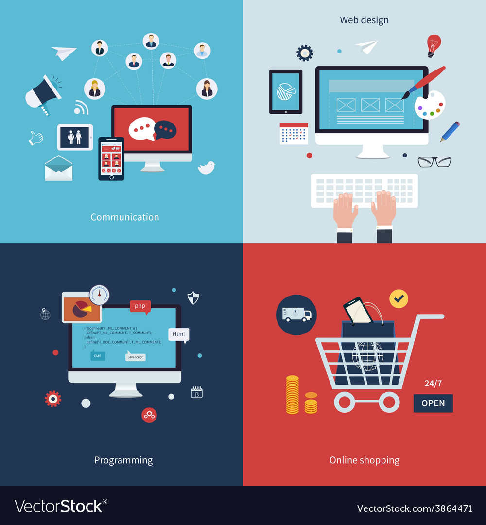 Icons for communication web design programming vector   Price: 1 Credit (USD $1)