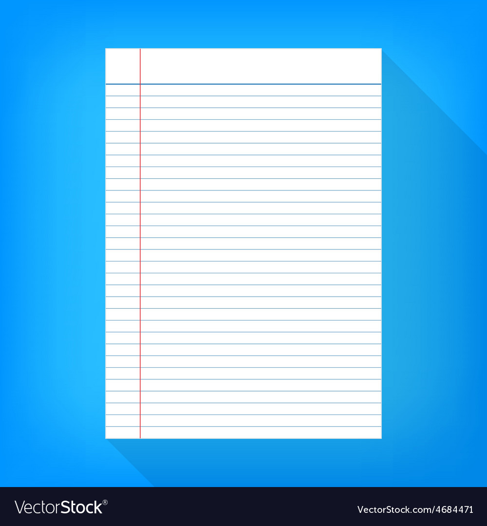 Notebook paper isolated blue background empty vector | Price: 1 Credit (USD $1)