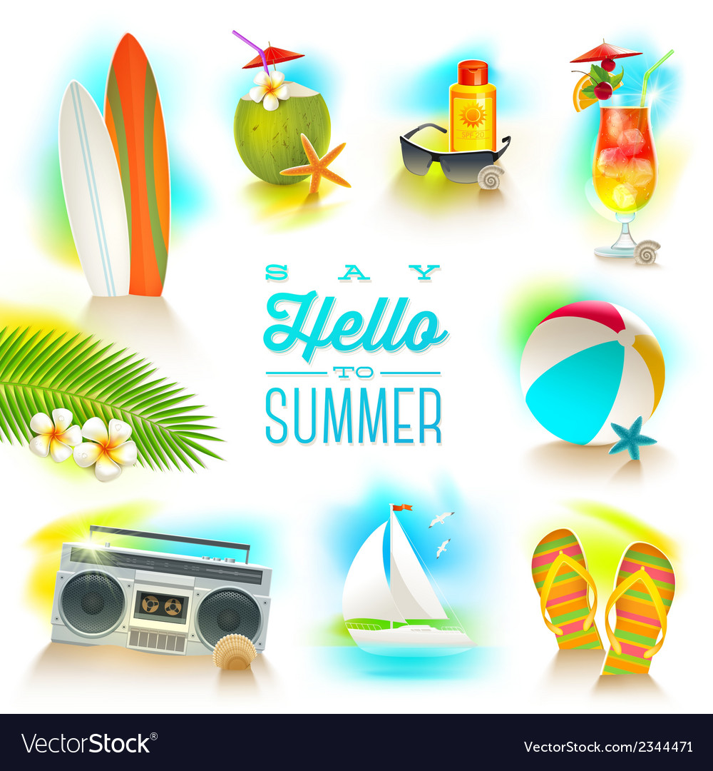 Set of summer and beach vacations elements vector | Price: 3 Credit (USD $3)