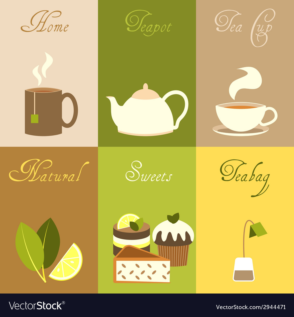 Tea mini posters set vector | Price: 1 Credit (USD $1)