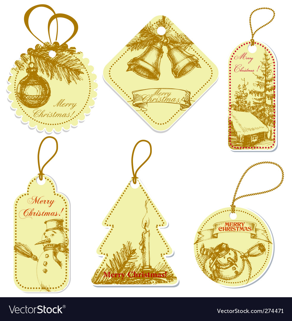 Vintage christmas tags vector | Price: 1 Credit (USD $1)