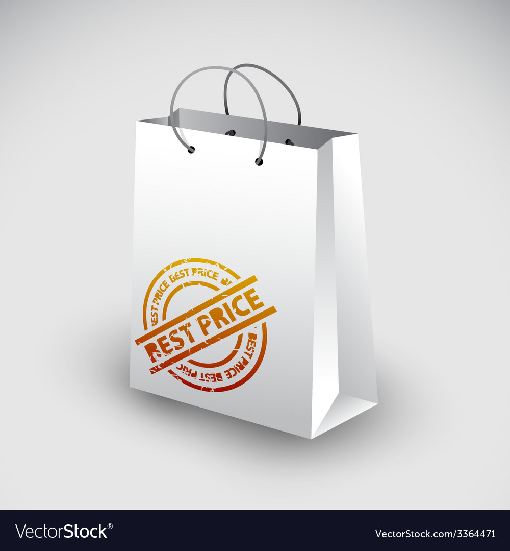 White shopping bag icon vector | Price: 1 Credit (USD $1)