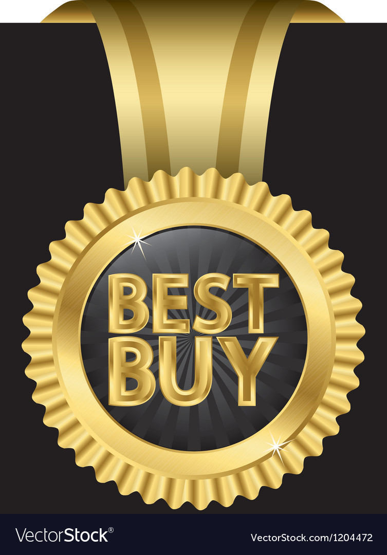 Best buy golden label with ribbons vector | Price: 3 Credit (USD $3)