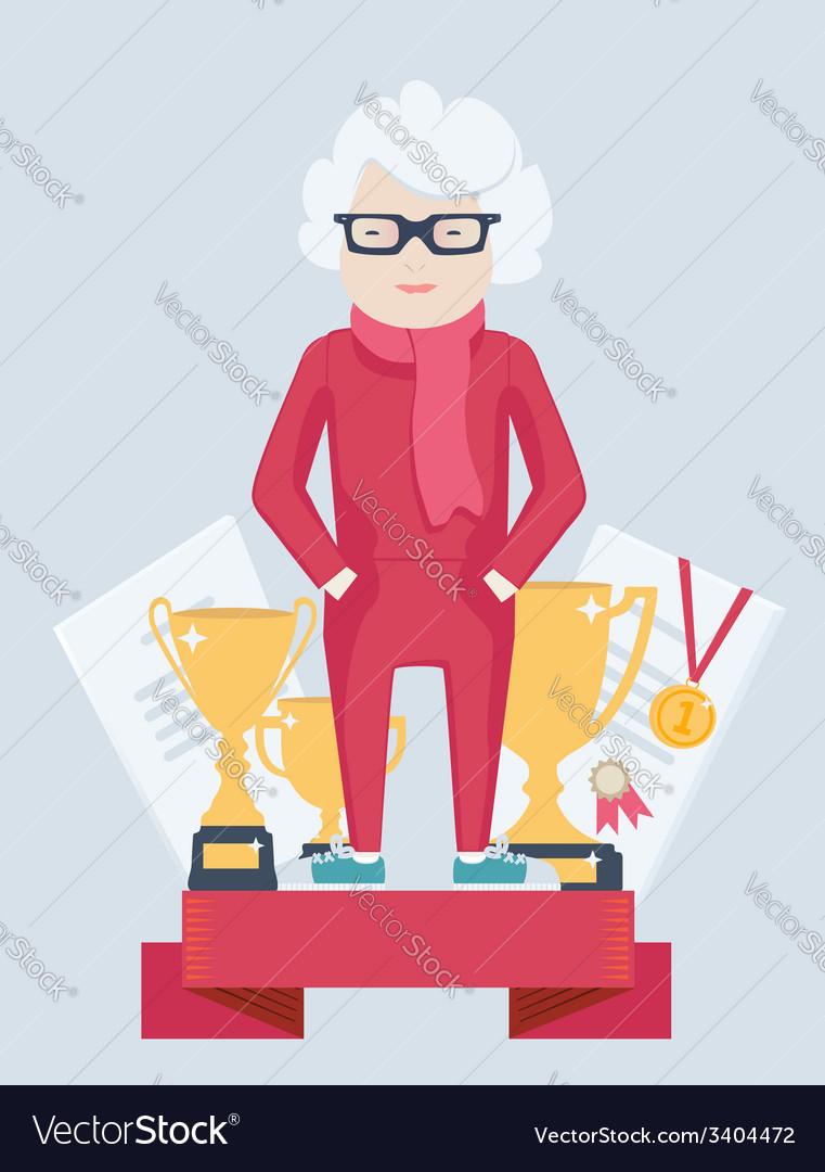 Elderly woman on a winners podium vector | Price: 1 Credit (USD $1)