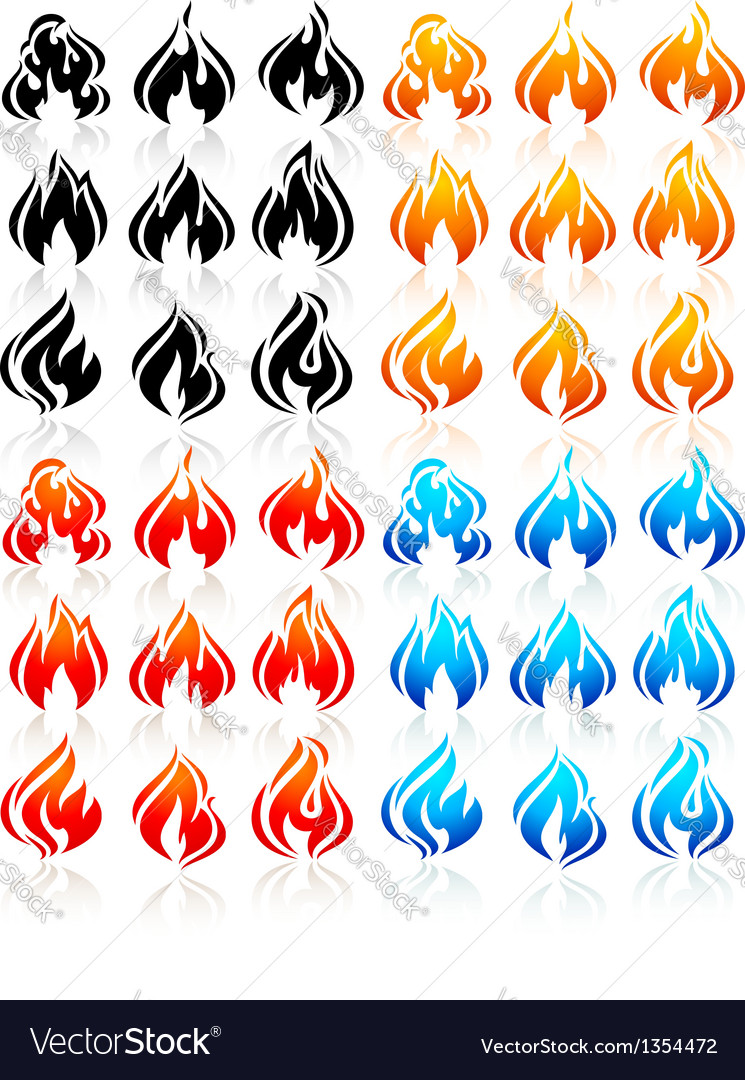 Fire flames big set new icons vector | Price: 1 Credit (USD $1)