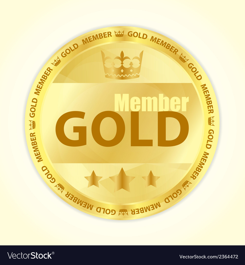 Gold member badge with royal crown and three vector | Price: 1 Credit (USD $1)
