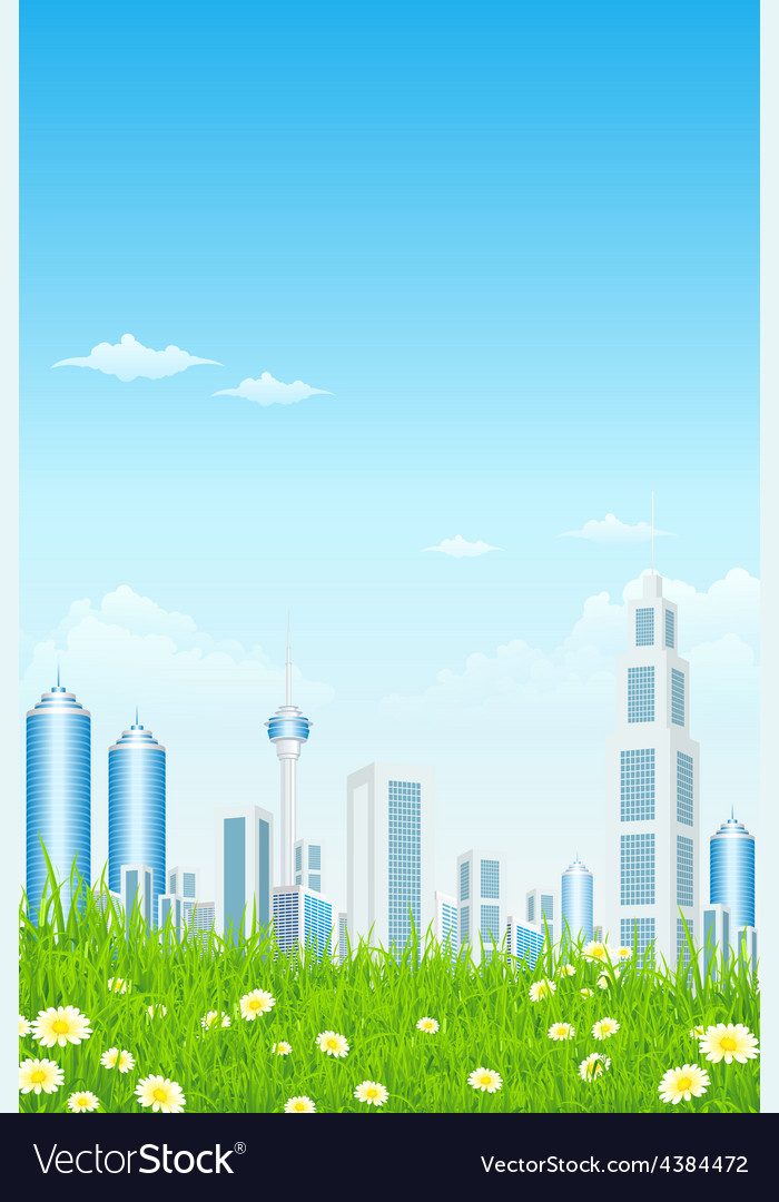 Green grass with skyscrapers sun and rays vector | Price: 3 Credit (USD $3)
