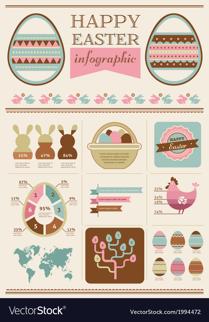 Happy easter - infographic and elements vector | Price: 1 Credit (USD $1)