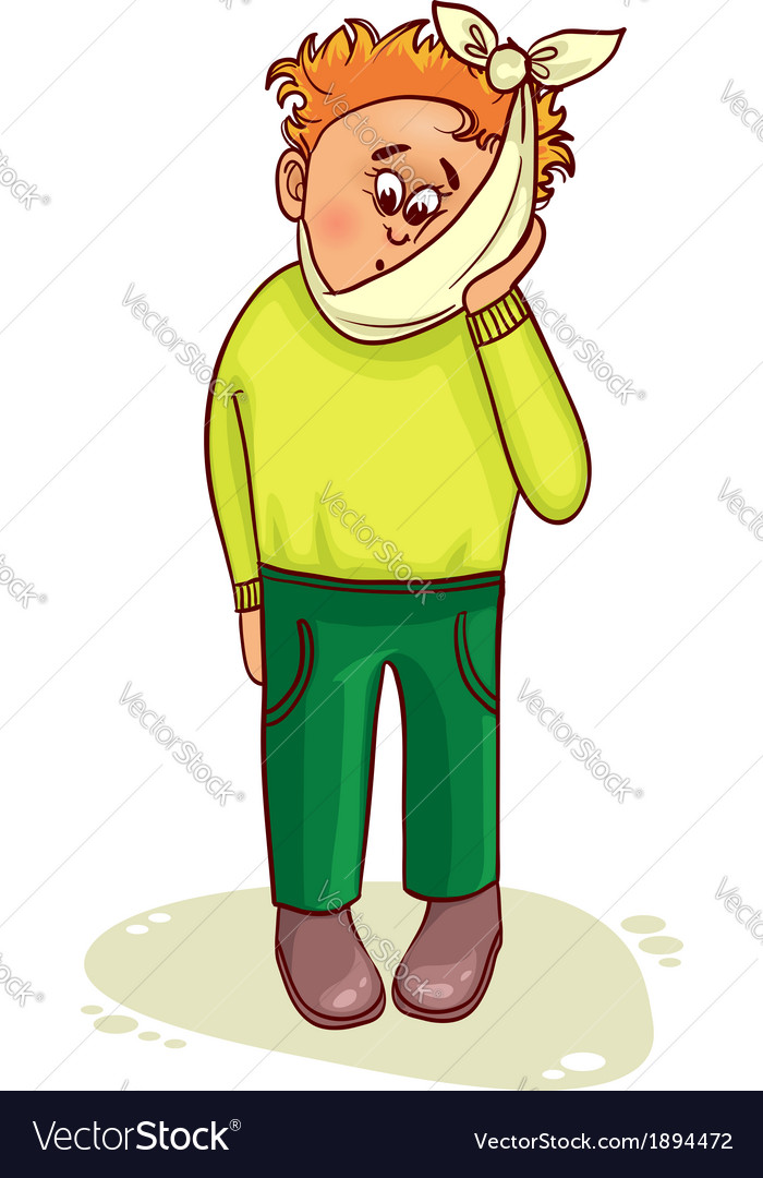 Ill little man complains about teeth pain vector | Price: 1 Credit (USD $1)