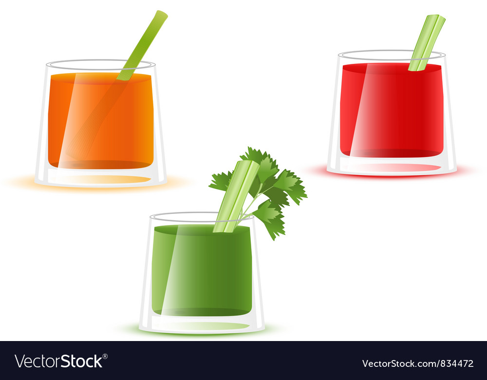 Juice glass of vegetable vector