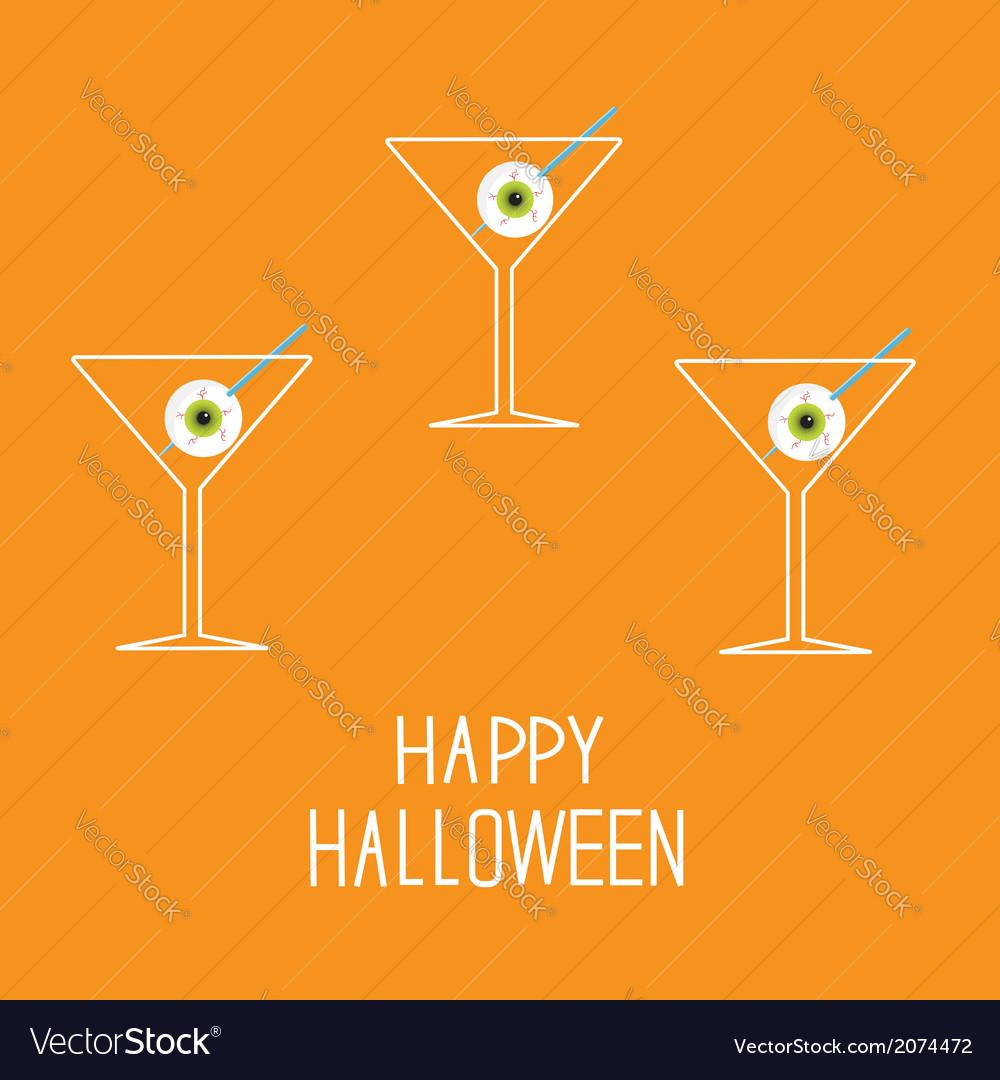 Martini set with eyeballs happy halloween card vector | Price: 1 Credit (USD $1)