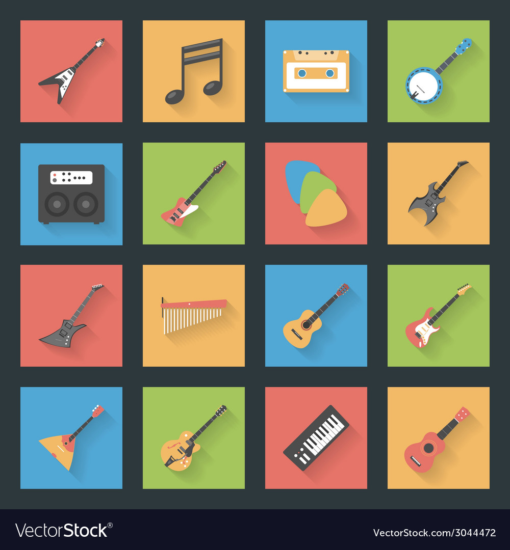 Musical instruments flat icons set vector | Price: 1 Credit (USD $1)