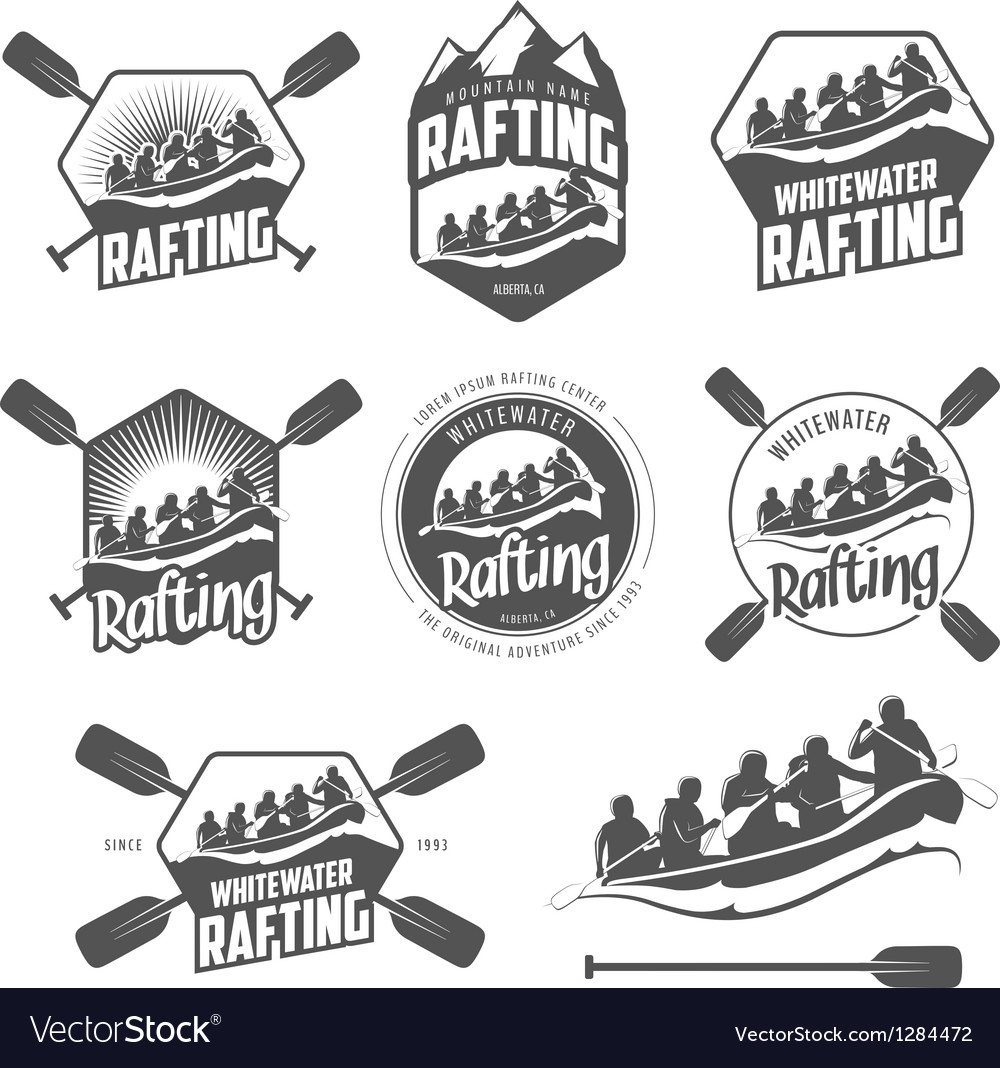 Set of vintage whitewater rafting labels vector | Price: 1 Credit (USD $1)