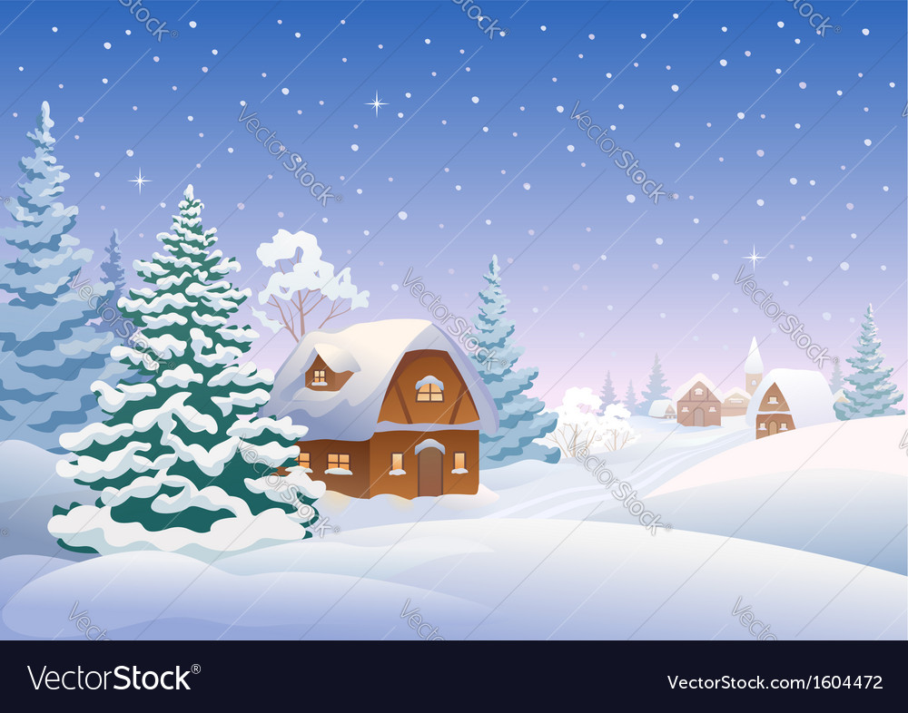 Winter village vector | Price: 3 Credit (USD $3)