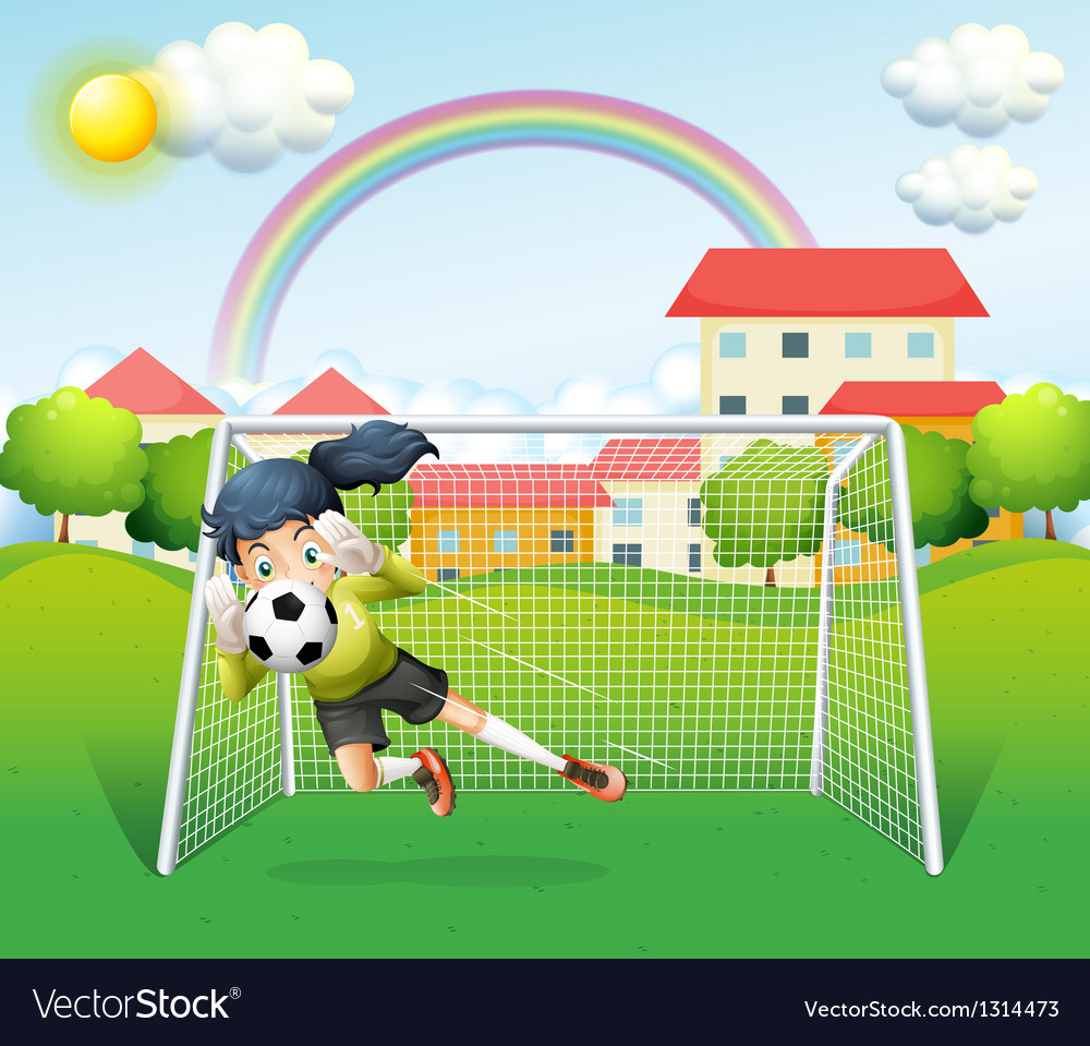 A sporty woman playing soccer vector | Price: 1 Credit (USD $1)