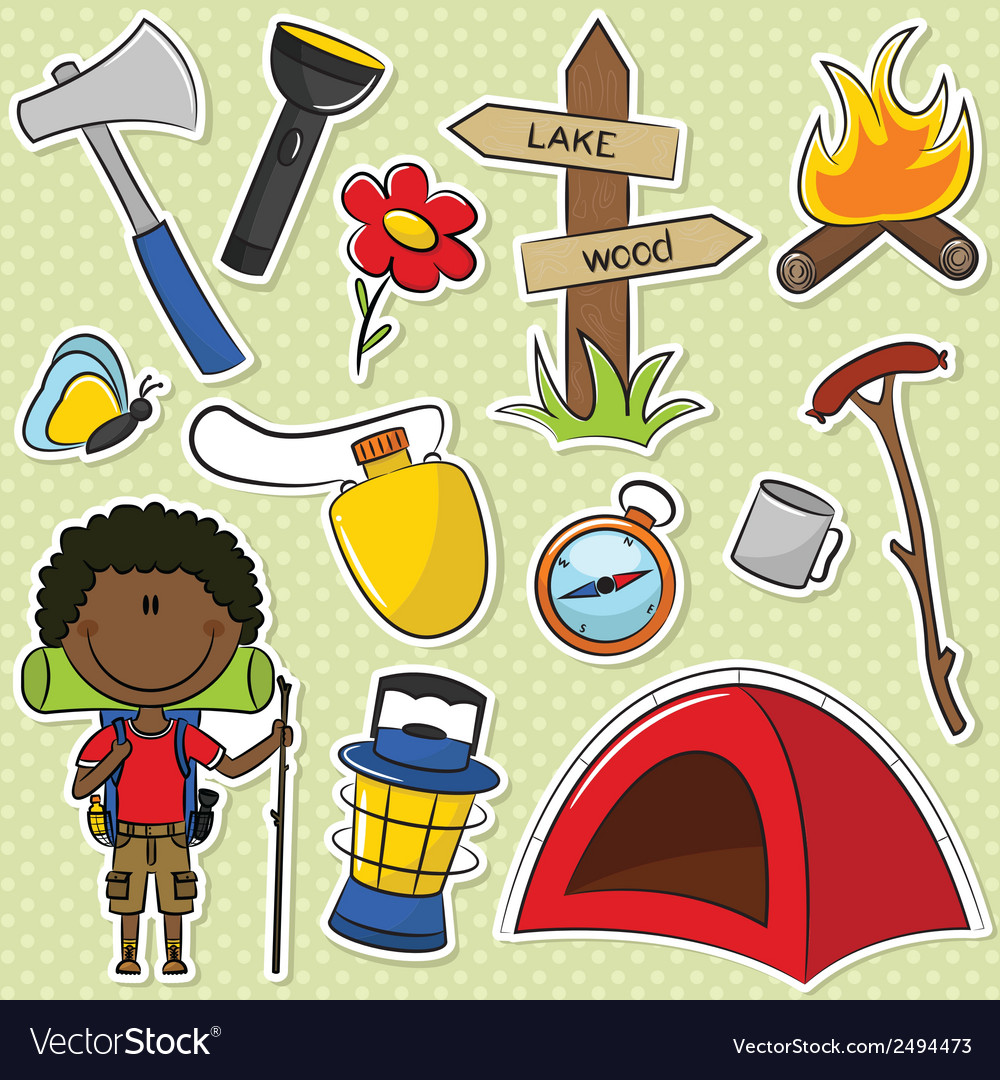 African-american hiker boy vector | Price: 1 Credit (USD $1)