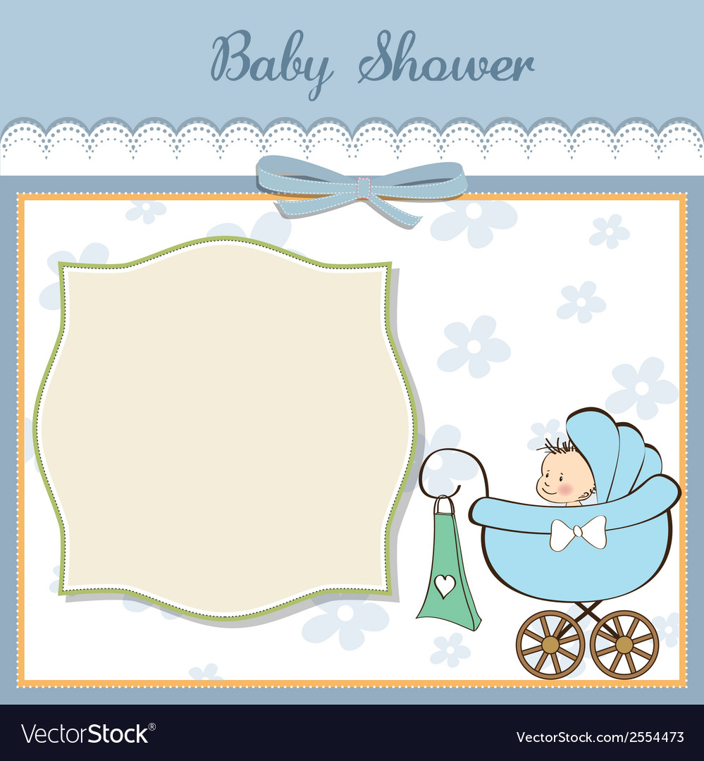 Baby boy announcement card with baby and pram vector | Price: 1 Credit (USD $1)